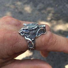 WOLF RING 925 Sterling Silver Ring Mens Ring Biker Rings Goth