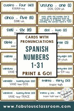 Make learning and pronouncing Spanish numbers easy and fun with these printable cards. Perfect for classroom display, for morning meetings, or to cut and use as flashcards! #spanishnumbers #learnspanish #spanishactivities #spanishprintables #teacherspayteachers #distancelearning #elearning #homeschool Spanish Lesson Plans, Spanish Lessons, Spanish Class, Spanish Teaching Resources, Homeschooling Resources, Simple Spanish Words, Professor, Spanish Numbers, Learn To Speak Spanish