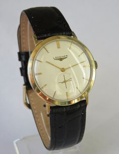 Antiques Atlas - Gents 1956 Longines 14ct Gold Wristwatch Longines Watch Men, Vintage Leather, Men's Vintage, Best Watch Brands, Hand Watch, Mens Watches Leather, Vintage Watches For Men, Wrist Watches, Men's Watches