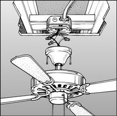 How to Install a Ceiling Fan . How to Install a Ceiling Fan . Ceiling Fan Wiring, Ceiling Fan Installation, Home Electrical Wiring, Electrical Projects, Residential Wiring, Ceiling Plan, House Wiring, Home Fix, Diy Fan