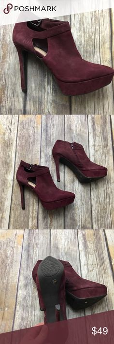Gianni Bini Wine Suede Side Slit Heeled Boots Wine colored side slit platform heeled boots. Size 6.5. In excellent used condition. 5 inch heel. Zips up on side. Platform style. Suede is trending get these beauties now! Gianni Bini Shoes Heeled Boots