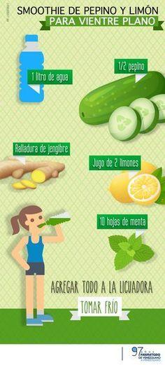 Ponte en forma con este delicioso batido. #smoothies #perderpeso #jugosverdes Pinterest ;)   https://pinterest.com/cocinadosiempre/