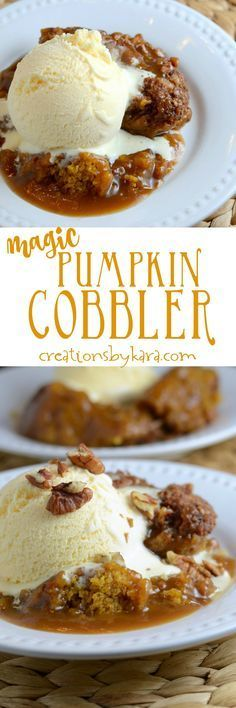 Recipe for incredible Pumpin Cobbler that makes its own caramel cinnamon sauce…