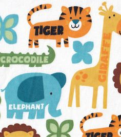 Snuggle Flannel Fabric Jungle Words