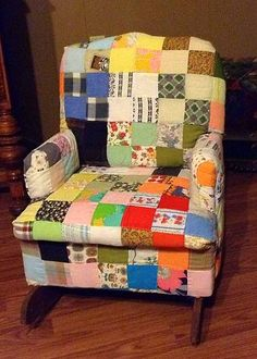 Antique child's rocker project I reupholstered with quilt