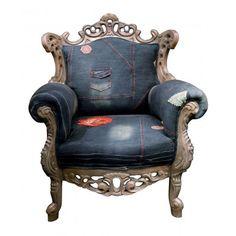 Barok_fauteuil_Mink_jeans_spijkerstof_denim_blauw