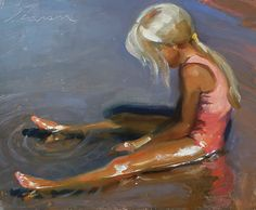 in the shallows by jeffrey t. larson.  One of his daughters at the beach.