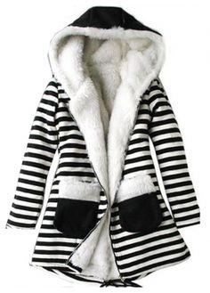 Cute Hooded Collar Long Sleeve Stripe Printed Winter Coat