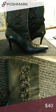 DIBA Black Leather 3/4 Boots Made in Brazil Supple leather boots adorned with 4 blk.leather flowers down the side. Heels too high and narrow for me sadly! I tried twice...I wear a 9 but as those of you know, if the toe is slim& pointed a size larger works best. These are a 10. Shoes