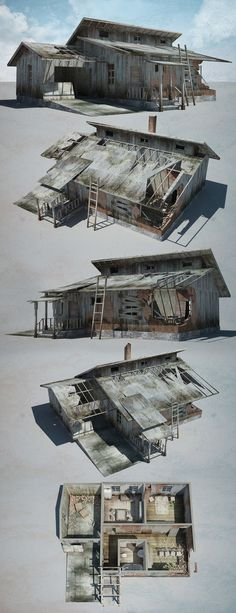 Low-poly houses for abandoned village project