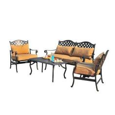 Ruby 4-Piece Patio Conversation Set with Caramel Cushions