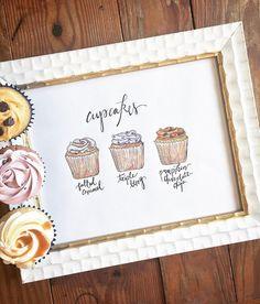 Custom Cupcake Flavor wedding reception sign drawing print