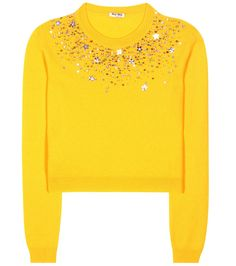 Miu Miu - Embellished cashmere sweater - Miu Miu uses pure cashmere to give this sweater its luxe feel. Multicoloured crystals and star-shaped sequins adorn the neckline for a dazzling update to the classic silhouette. Style this mimosa-yellow design with a colourful skirt to accentuate the feminine look. seen @ www.mytheresa.com