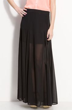 I love this look.  A mini skirt that's a long skirt.  Here's one from Nordstrom for $48.