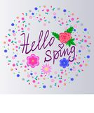 Sizon Card Hello Spring With Cute Flowers - Download From Over 58 Million High Quality Stock Photos, Images, Vectors. Sign up for FREE today. Image: 49874414