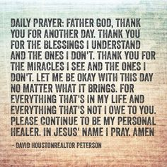 Daily Prayer-Thanking God for blessings.