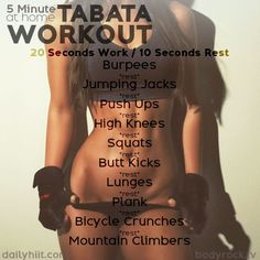 A Tabata is a high-intensity workout protocol that has fitness and weight-loss benefits. It is also a very short workout with completing 20 seconds of a certain CrossFit style exercise, followed by a 10 second rest period. Similar to HIIT, Tabata has become very popular over the past few years because usually no equipment is needed! Got ...