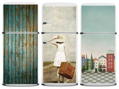What a cool way to improve the looks of your refrigerator...some are magnets...or use Blake or green chalk paint!