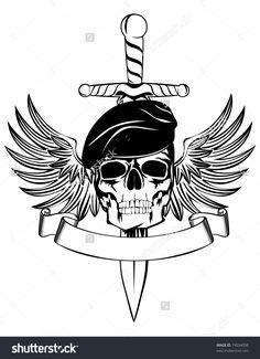 Skull in beret with dagger and wings – Tattoo Pattern Army Tattoos, Military Tattoos, Skull Tattoo Design, Tattoo Designs Men, Airborne Tattoos, Love Wrist Tattoo, Placement Tattoo, Poker Tattoo, Cool Symbols