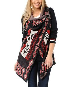 Take a look at this Black & Red Tribal Cardigan by Polkadot on #zulily today!