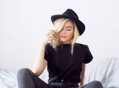 Black outfit and fedora: http://isabellathordsen.dk Find a similar one here: http://asos.do/Q4ZlFo