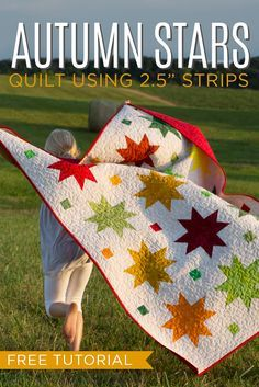 """Make the Autumn Sweet Stars Quilt Using 2.5"""" Strips! Free Video Tutorial!"""
