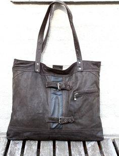 Handmade Large Leather Bag, Hobo Bag, Recycled Leather Bag, Leather Bag, Leather…