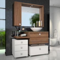 Compre Gabinete para Banheiro com Espelheira Vicenza Celta Móveis (Acompanha…