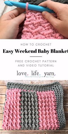 How to Crochet: Easy Weekend Baby Blanket- Yes, you really CAN make this blanket in a weekend! Using super bulky yarn and a very large hook makes this blanket a breeze. Very warm and easy to make. How to Crochet: Easy Weekend Baby Blanket Love. Crochet Crafts, Knit Crochet, Crochet Afghans, Chunky Crochet Blankets, Double Crochet, Crochet Edges For Blankets, Loop Stitch Crochet, Crocheted Baby Blankets, Crochet Shark