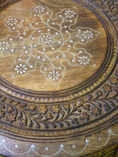 carved mango wood table with metal inlay maroque bargu mango wood side table