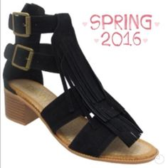 "HP 2/24CUTE FRINGE SANDAL FOR SPRING & SUMMER! Really cute, trendy sandal with fringe front and double brass ankle buckles! Zip back, 1 1/2"" stacked heel. Super comfortable and very hip. Suede like material.PLEASE DO NOT BUY THIS LISTING, I will personalize one for you.                ♦️SIZES: 1 5.0, 1 5.5, 2 6.0, 1 6.5, 2 7.0, 3 7.5,  2 8.0, 2 8.5, 1 9.0 Adriana New York Shoes Sandals"