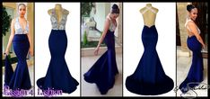 Navy blue & white lace plunging neckline soft mermaid sexy matric farewell dress with an open back and crossed lace back straps with a train. Matric Farewell Dresses, Matric Dance Dresses, Mermaid Prom Dresses, Navy And White Dress, White Lace, Navy Blue, Bodice Wedding Dress, Blue Evening Dresses, White Wedding Dresses
