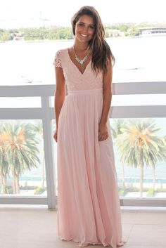 Buy this adorable Blush Crochet Top Maxi Dress with Open Back from Saved by the Dress Online Boutique. Beautiful maxi dress that is perfect for any occasion! Spring Bridesmaid Dresses, Wedding Dresses, Beautiful Maxi Dresses, Flowy Skirt, Online Boutiques, Dresses Online, Cap Sleeves, Crochet Top, Gowns