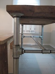 Industrial Pipe Leg Dining Table by Lapalletcreations on Etsy, $400.00 -- does custom orders -- how about a pipe leg bench?
