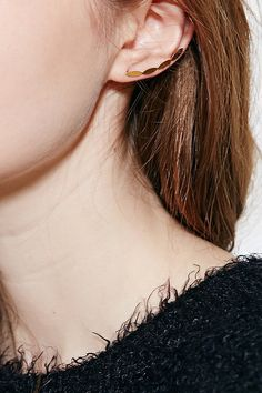 18k Gold & Sterling Silver Ear Climber - Urban Outfitters