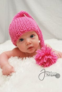 Baby Elf Hat Knit Baby Hat Newborn Baby Pink от BostonAvenueBabies