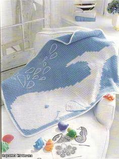 Colcha em Crochê Baleia Artesanatos Mantas -  /   Bedspread up Crochet Hooks Whale Mantas Handcrafts -