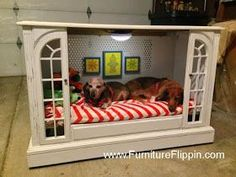 TV Console Cabinet Turned Dog Bed - Featured On Furniture Flippin'