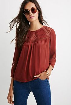 b8feac44b96ec4 Embroidered Mesh Pintucked Blouse