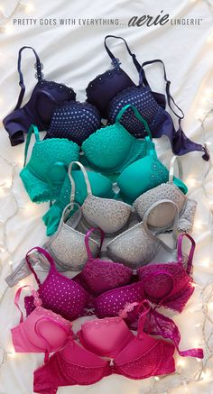 Pretty colors & special details. Check out Aerie's holiday bras!