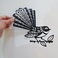 New Zealand fantail black paper cut by EllenGiggenbach on Etsy Maori Tattoos, Key Tattoos, Skull Tattoos, Foot Tattoos, Sleeve Tattoos, New Zealand Tattoo, New Zealand Art, Maori Designs, Paper Cutting