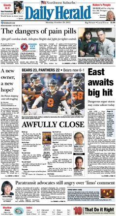 Daily Herald front page, Oct. 29, 2012