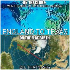 Long haul flights  England to Texas flying through Canada flay earth