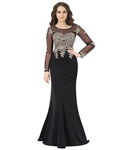 09ed910224 Sarahbridal Womens Mermiad Prom Dresses Applique Beaded Evening Gowns Long  Sleeve Black   To view further for this item