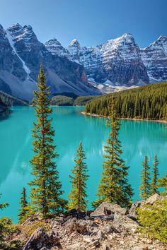 Blue Moraine Lake in Banff National Park Alberta Canada. Moraine Lake, Lac Moraine, Lake Moraine Canada, Landscape Photos, Landscape Photography, Nature Photography, Cool Landscapes, Beautiful Landscapes, Image Nature