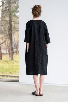 Deepest black linen tunic/dress. Washed linen by notPERFECTLINEN