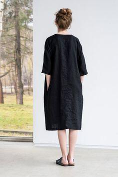 Deepest black linen tunic/dress. Washed linen por notPERFECTLINEN