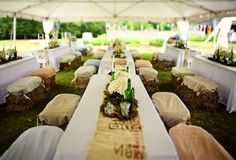 Image result for hay bale seating at wedding