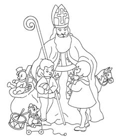 Ausmalbilder Nikolaus (Saint Nicholas) - Only Coloring Pages Coloring Book Pages, Coloring Sheets, Saint Grégoire, St Nicholas Day, Painting Templates, Childrens Christmas, Retro Christmas, Catholic Kids, Early Christian