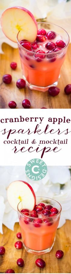Cranberry Apple Sparklers Cocktail and Mocktail - Cranberry Apple Sparklers Cocktail and Mocktail recipe that is a delicious, refreshing drink for the holidays! Christmas Drinks, Holiday Drinks, Holiday Treats, Winter Drinks, Christmas Goodies, Christmas Ideas, Cocktail And Mocktail, Cocktails, Alcoholic Drinks